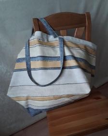 Beigegestreifte Allround-Tasche aus Baumwolle - Handarbeit kaufen