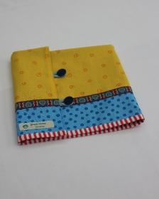 Patchwork-Tasche für Rundstricknadeln in Gelb-Blau - Handarbeit kaufen