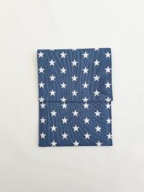 Impasshülle aus Baumwollstoff in Jeansblau mit Sternen - Handarbeit kaufen