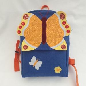 Bunter Kinderrucksack mit Applikation 'Schmetterling'