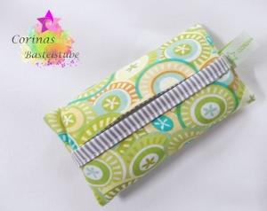 TATÜTA Taschentüchertasche mit Muster in grün / türkis - Handarbeit kaufen