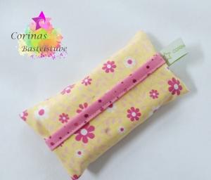 TATÜTA Taschentüchertasche mit Blümchen in rosa auf gelb - Handarbeit kaufen