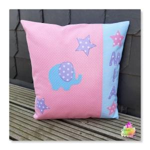Kissen Kissenhülle mit Elefant und Wunschname in rosa, lila und hellblau - Handarbeit kaufen