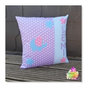 Kissenhülle mit Elefant und Wunschname in rosa, lila und hellblau  - Handarbeit kaufen