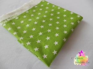 Jersey apfelgrün mit weißen Sternen klein STOFF