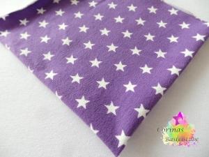 Jersey lila mit weißen Sternen klein STOFF