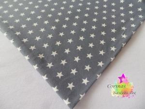 Jersey grau mit weißen Sternen klein STOFF