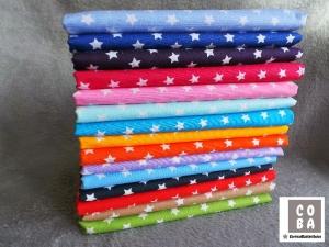 Baumwollstoff türkis / cyan / meeresblau mit weißen kleinen Sternen  STOFF   - Handarbeit kaufen