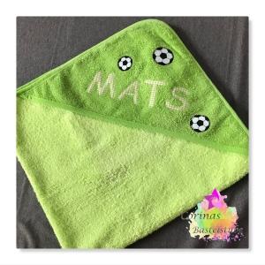 Kapuzenbadetuch Handtuch FUSSBALL ★ mit Wunschnamen ★ 80 x 80 cm ★ - Handarbeit kaufen