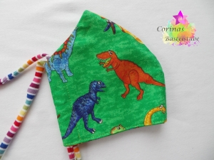 Masken Mund Nasen Bedeckung Alltagsmaske Gesichtsbedeckung  DINO Dinosaurier - in Gr. S Kinder - Bänder individuell anpassbar - Handarbeit kaufen