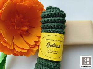 Spültuch, Spüllappen, Spüli, Schwamm, gehäkelt dunkelgrün, 100 % Baumwolle nachhaltig umweltbewusst  - Handarbeit kaufen