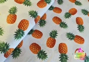 Stoff Baumwoll Digitaldruck Ananas weiß 50 cm  - Handarbeit kaufen