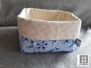 Utensilio Stoffkorb Stoffkörbchen Aufbewahrung Korb  hellblau beige  - Handarbeit kaufen