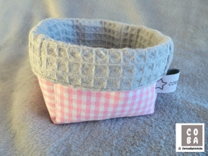Utensilio Stoffkorb Stoffkörbchen Aufbewahrung Korb  rosa kariert Waffelpique - Handarbeit kaufen