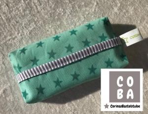 TATÜTA Taschentüchertasche mint mit Sternen - mit Liebe genäht  - Handarbeit kaufen