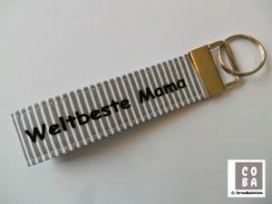 Schlüsselband Schlüssband * Weltbeste Mama *  #mitLiebegenäht
