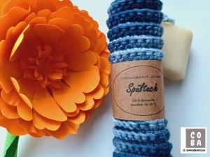 Spültuch, Spüllappen, Spüli, Schwamm, gehäkelt blau, 100 % Baumwolle nachhaltig umweltbewusst   - Handarbeit kaufen