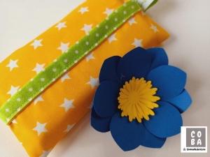TATÜTA Taschentüchertasche gelb mit weißen Sternen - mit Liebe genäht    - Handarbeit kaufen