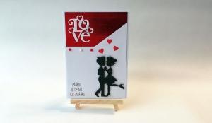 Grußkarte, Karte zum Valentinstag, Paar, rot/weiß, ca. 10,5 x 15 cm