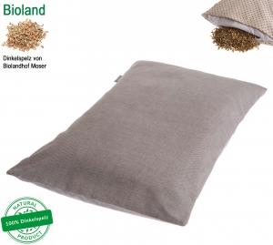 DinkelTraum Kissen inkl. Bezug 25x40 cm grau-beige meliert , Öko-Tex Standard mit BIOLAND Dinkelspelzfüllung