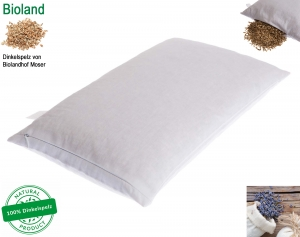 DinkelTraum Innenkissen 40x60 cm, 100% Baumwolle inkl. BIOLAND Dinkelspelzfüllung und getrocknete BIO Lavendelglüten