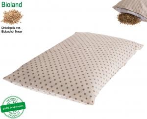DinkelTraum Kissen inkl. Bezug 40x60 cm Sterne , Öko-Tex Standard mit BIOLAND Dinkelspelzfüllung