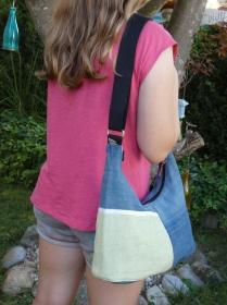 Upcycling Handtasche lime aus Jeans mit Wollstoffapplikation kaufen - Handarbeit kaufen