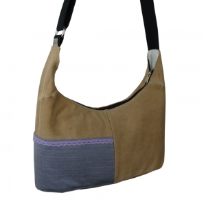 Upcycling Handtasche brown aus Jeans mit Jerseyapplikation in blau jetzt kaufen - Handarbeit kaufen