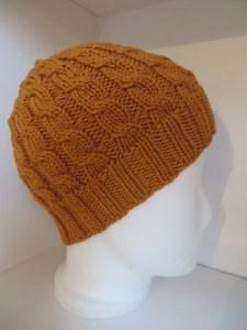 Mütze handegstrickt orange