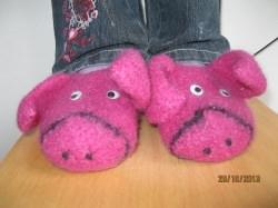 Lustige Ferkelchen-Pantoffeln für Kid's Strickfilz