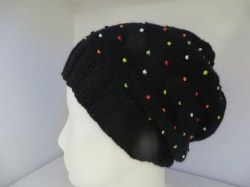Mütze mit bunten Perlen aus 100 Prozent Merino  Onesize Unikat