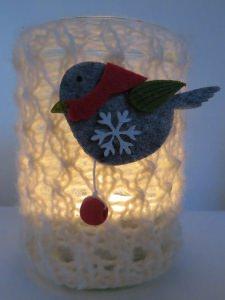 handgestricktes wunderschönes Windlicht mit Vögelchen aus Filz
