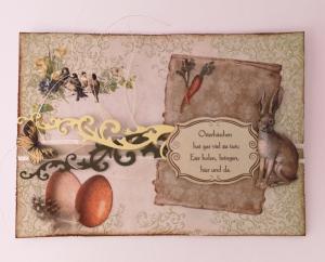 Osterkarte ♥Osterhäschen♥ gebastelt aus weißem Karton und Designpapier, mit vielen Details und Osterspruch kaufen - Handarbeit kaufen