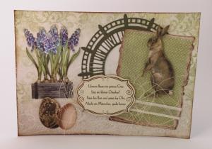 Osterkarte ♥Osterhas♥ gebastelt aus weißem Karton und Designpapier, mit vielen Details und Osterspruch kaufen - Handarbeit kaufen