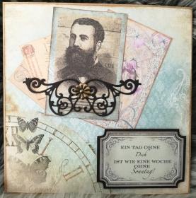Grußkarte Herren, Ein Tag ohne Dich..., gebastelt aus Designpapier im Vintagestil kaufen ♡Nostalgie♡ - Handarbeit kaufen