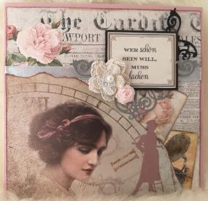 Grußkarte ♥ Wer schön sein will, muss lachen ♥ gebastelt aus Designpapier im Vintagestil kaufen ♡Nostalgie♡ Valentinstag - Handarbeit kaufen
