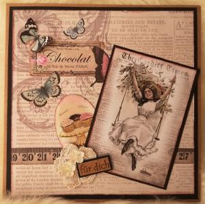 Grußkarte ♥ für dich ♥ gebastelt aus Designpapier im Vintagestil kaufen ♡Nostalgie♡ Valentinstag, Muttertag, Geburtstag - Handarbeit kaufen