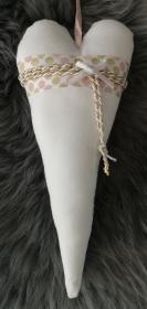 ♡ Tilda-Herz ♡ WEIß/ROSA handgenäht aus Baumwollstoff zum aufhängen, Stoffherz  - Handarbeit kaufen