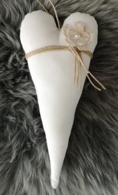 ♡ Tilda-Herz ♡ WEIß/NATUR handgenäht aus Baumwollstoff zum aufhängen, Stoffherz - Handarbeit kaufen