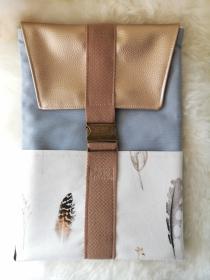 Laptop Tasche handgenäht aus Canvas-Stoff in natur / blau, mit Metallschnalle - Handarbeit kaufen