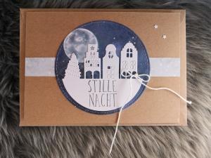 ★Weihnachtskarte★ STILLE NACHT I mit Briefumschlag, aus Recyclingpapier - Handarbeit kaufen
