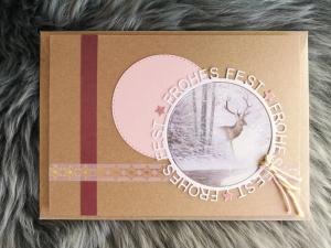 ★Weihnachtskarte★ FROHES FEST mit Briefumschlag, aus Recyclingpapier