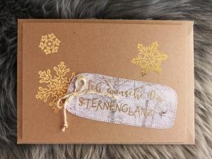 ★Weihnachtskarte★ STERNENGLANZ mit Briefumschlag, aus Recyclingpapier