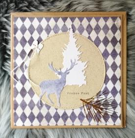 Weihnachtskarte ★ FROHES FEST III ★ mit Briefumschlag, aus Recyclingpapier, Graspapier