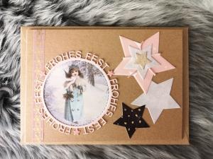 Weihnachtskarte ★ FROHES FEST II ★ mit Briefumschlag, aus Recyclingpapier - Handarbeit kaufen