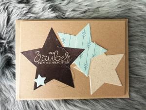 Weihnachtskarte ★ ZAUBER VON WEIHNACHTEN ★ mit Briefumschlag, aus Recyclingpapier, Graspapier - Handarbeit kaufen