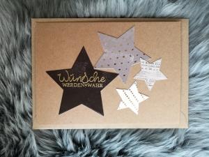 Weihnachtskarte ★ WÜNSCHE ★ mit Briefumschlag, aus Recyclingpapier - Handarbeit kaufen