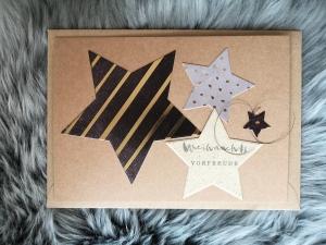 Weihnachtskarte ★ VORFREUDE ★ mit Briefumschlag, aus Recyclingpapier, Graspapier