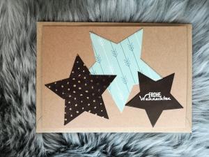 Weihnachtskarte ★ STERNE schwarz/türkis ★ mit Briefumschlag, aus Recyclingpapier - Handarbeit kaufen