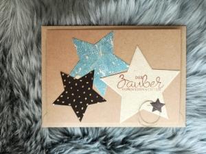 Weihnachtskarte ★ ZAUBERSTERN ★ mit Briefumschlag, aus Recyclingpapier, Graspapier